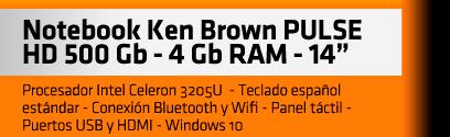 "Notebook Ken Brown PULSE - 4 Gb RAM - 14"" - HD 500 Gb"