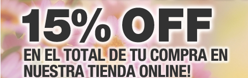 15% OFF en el total de tu compra en nuestra Tienda Online!