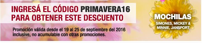 INGRESÁ EL CÓDIGO PRIMAVERA16 para obtener este descuento // Promoción válida desde el 19 al 25 de septiembre de 2016 inclusive, no acumulable con otras promociones ------- MOCHILAS | Simones, Mickey & Minnie, Jansport